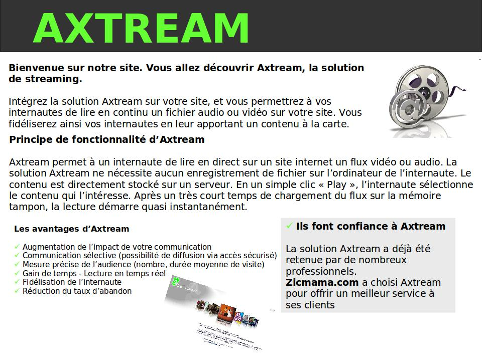 Axtream la solution de streaming